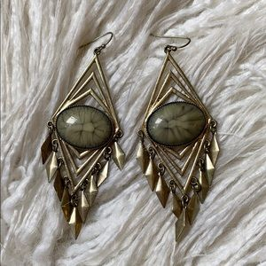 Boho Gray Stone Earrings